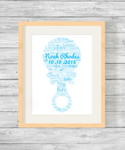 Personalised Bespoke Blue Rattle Baby Word Art Print