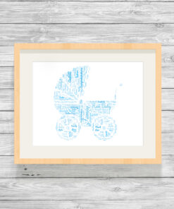 Personalised Baby Pram Word Art Picture Gift