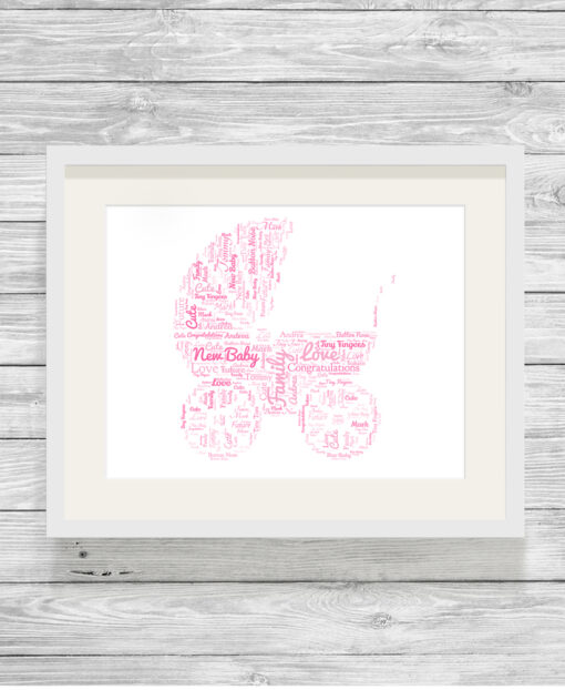 Personalised Baby Pram Word Cloud Picture Gift