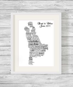 Personalised Bespoke Wedding Couple Word Art Print Gift
