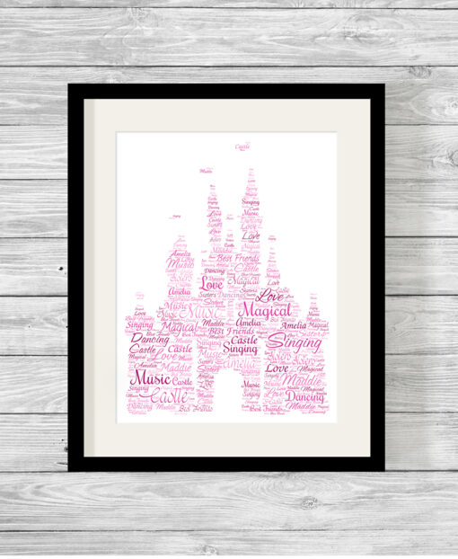 Personalised Disney Castle Word Art Picture Print