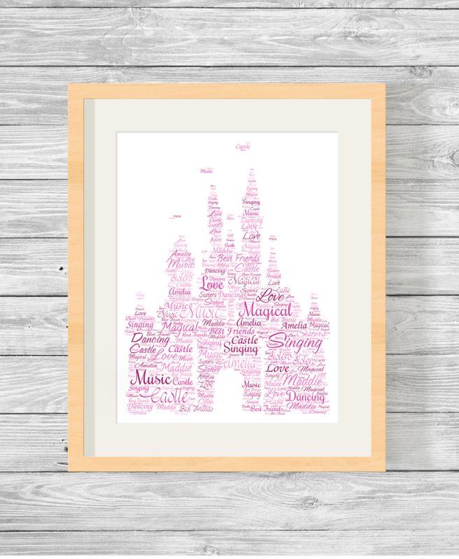 Personalised Disney Castle Word Art Picture Print