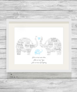 Personalised Elephant Family Word Art Print Blue