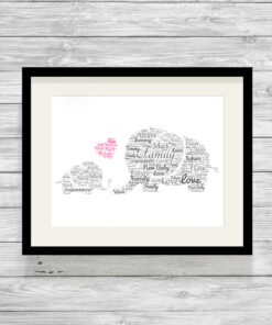 Personalised Mummy & Baby Elephant Word Art Print