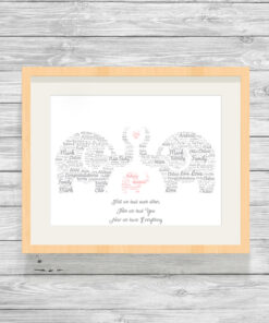 Personalised Elephant Family Word Art Print Pink