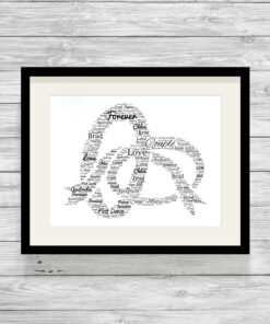 Personalised Bespoke Wedding Rings Word Art Print