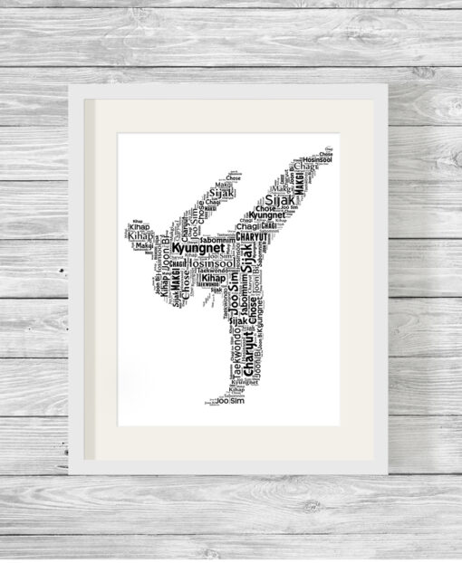 Personalised Taekwondo Word Art Picture Gift