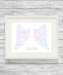 Personalised Bespoke Angel Wings Loving Memory Word Art Print