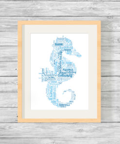 Personalised Seahorse Aquatic Word Art Print Gift