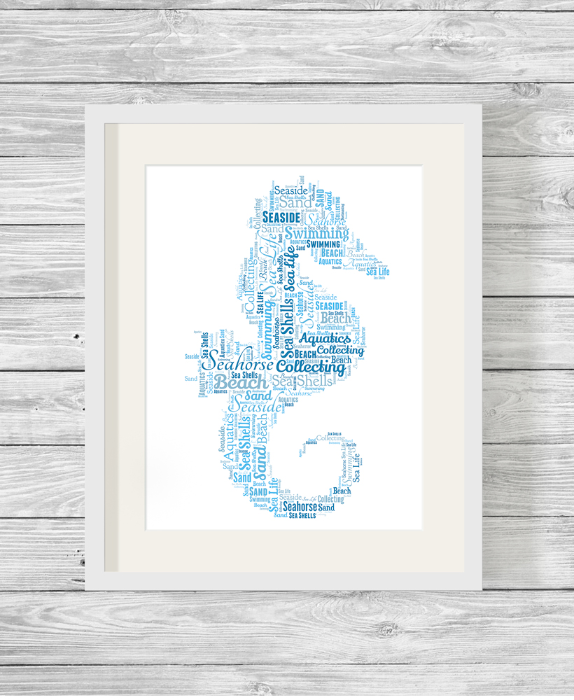 FREE P/&P PERSONALISED WORD CLOUD ART SEAHORSE CHOICE OF SIZE /& FRAMES