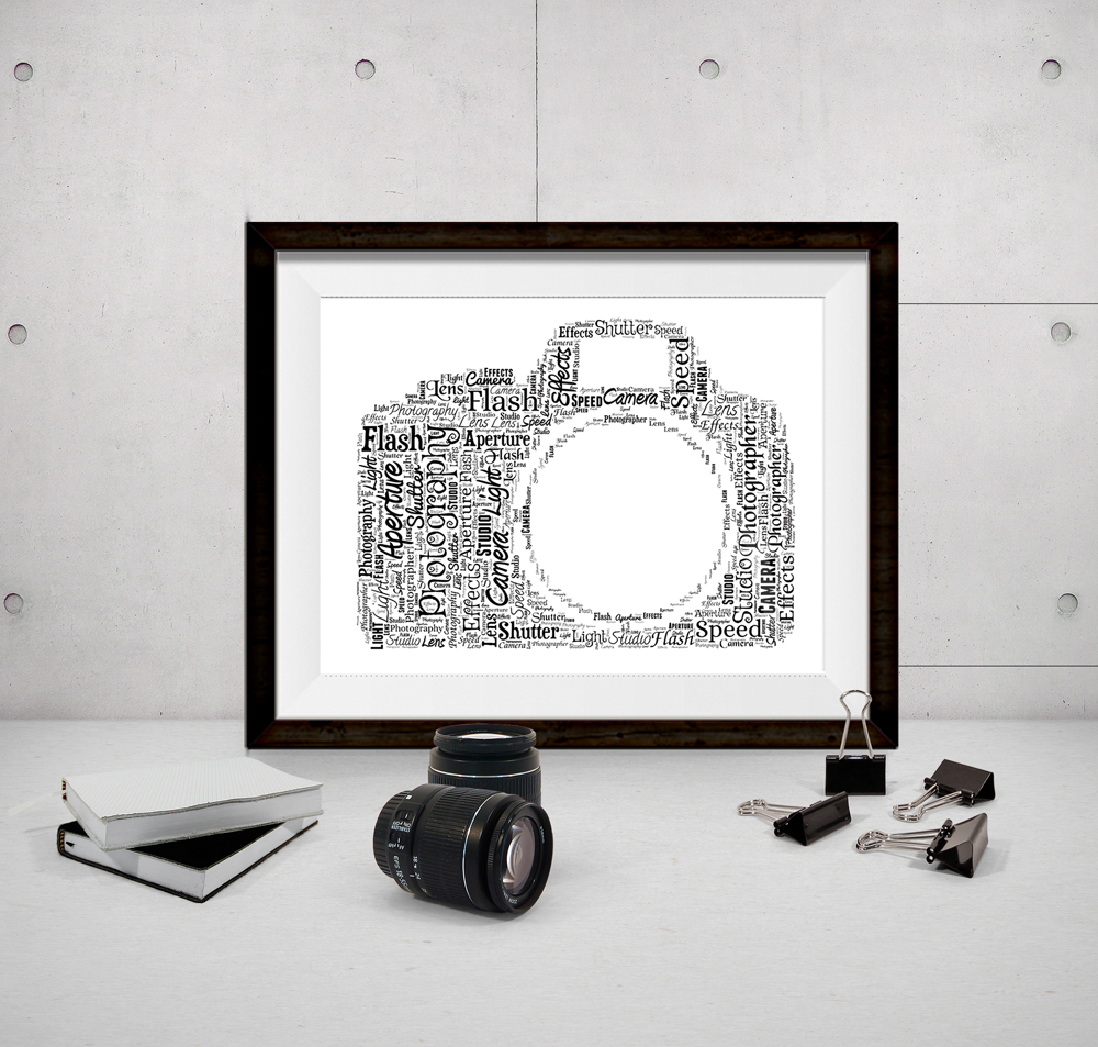 personalised bespoke camera photography word art picture gift show