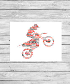 Personalised Bespoke Motocross Word Art Print Picture