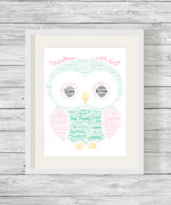 Personalised Bespoke Owl Word Art Print Picture