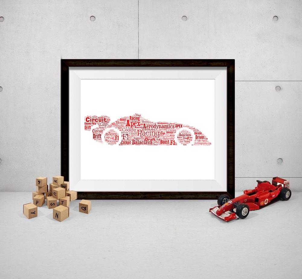 Personalised Bespoke Racing Car Word Art Print Picture - Show It ...