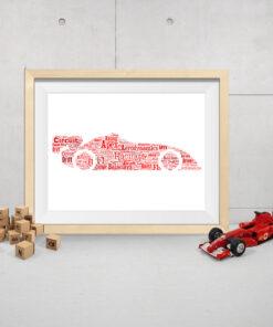 Personalised Bespoke Racing Car Word Art Print Picture