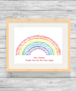 Personalised Bespoke Rainbow Word Art Print Picture