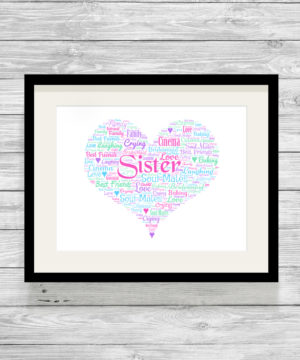 Personalised Bespoke Sister Heart Word Art Print Picture