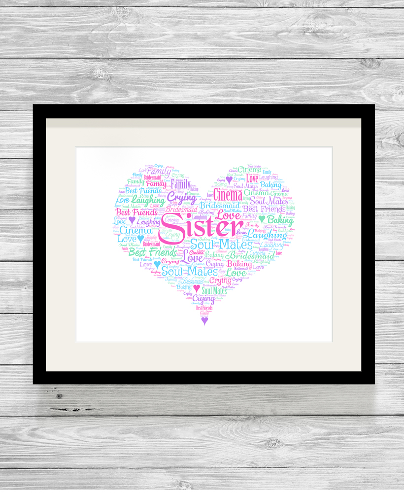 Personalised Bespoke Sister Heart Word Art Print Picture - Show It ... ea39630b2