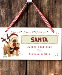 Personalised Boofle Santa Stop Here Wooden Sign