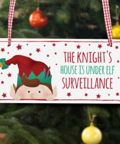 Personalised Christmas Elf Surveillance Wooden Sign