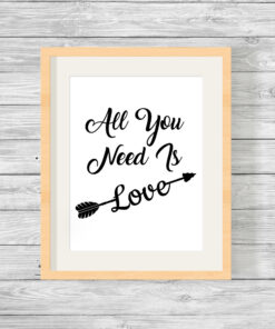 Personalised All You Need Is Love Typography Print