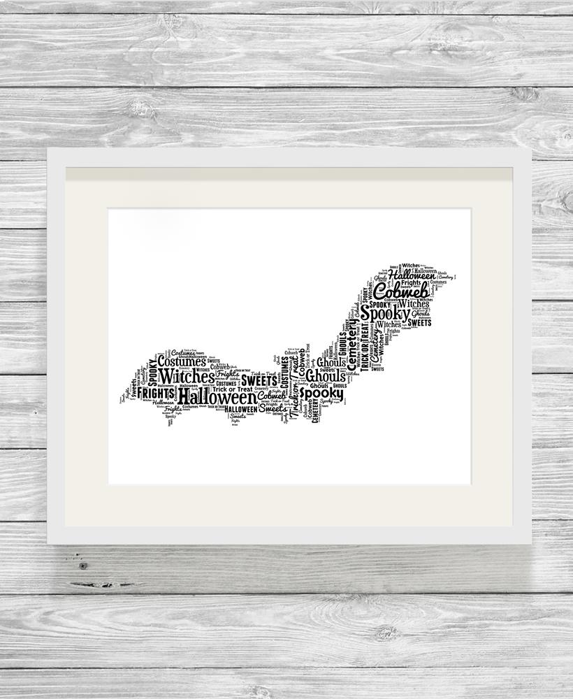Bespoke Personalised Halloween Bat Word Art Print , Show It With Words
