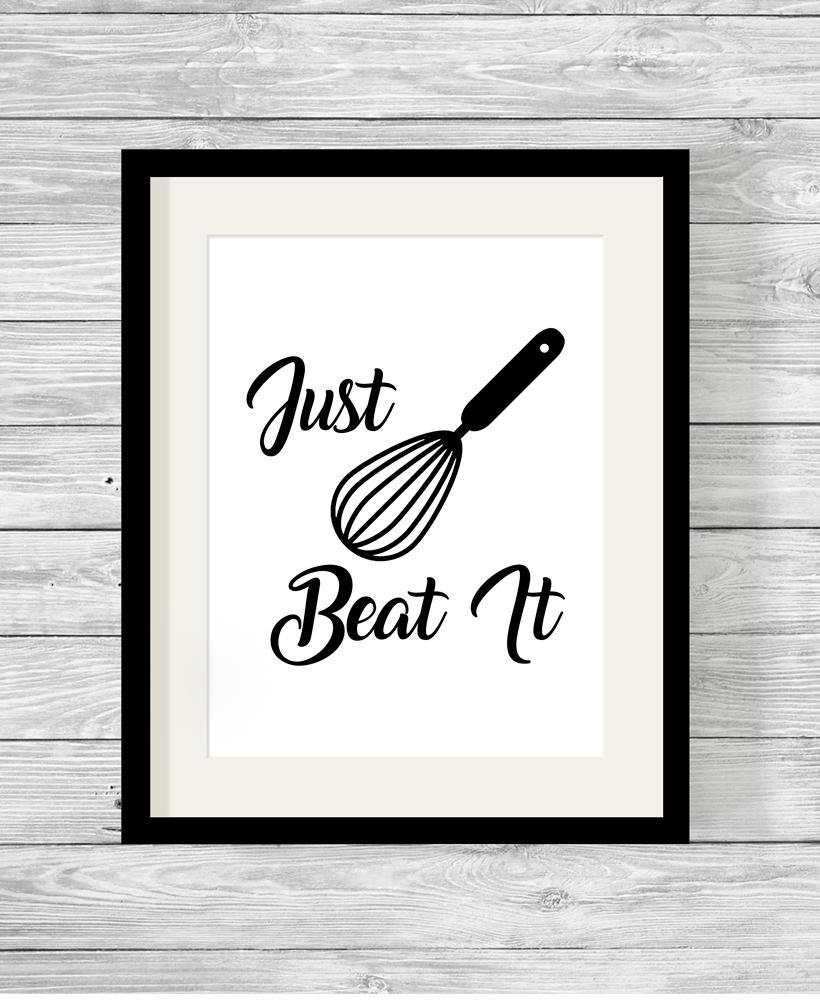Kitchen Art 32cm: Just Beat It Typography Kitchen Print