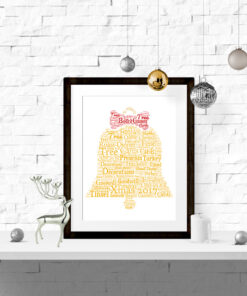 Bespoke Personalised Christmas Bell Word Art Print
