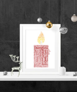 Bespoke Personalised Christmas Candle Word Art Print