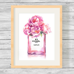 Bespoke Chanel No 5 Watercolour Perfume Bottle Print
