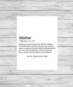Bespoke Personalised Mother Definition Typography Print