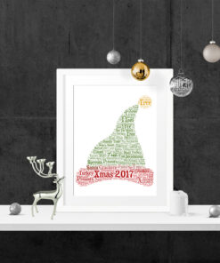 Bespoke Personalised Christmas Elf Hat Word Art Print