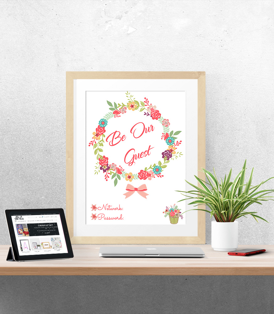 f0eb632e435ad Be Our Guest Floral Wifi Password Typography Print - Show It With Words