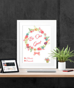 Be Our Guest Floral Wifi Password Typography Print