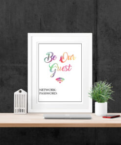 Be Our Guest Watercolour Wifi Password Typography Print