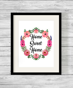 Bespoke Home Sweet Home Watercolour Flower Print