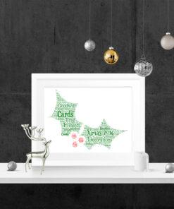 Bespoke Personalised Christmas Holly Word Art Print