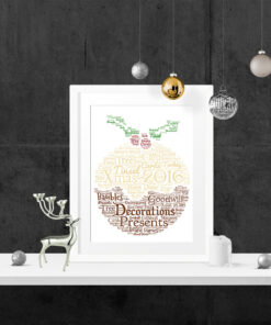 Bespoke Personalised Christmas Pudding Word Art Print