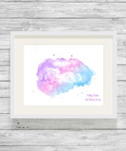 Personalised Baby Scan Watercolour Print
