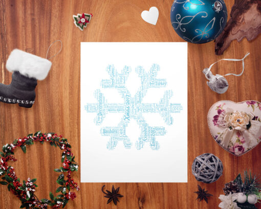 Bespoke Personalised Christmas Snowflake Word Art Print