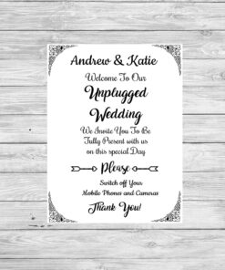 Bespoke Personalised Unplugged Wedding Typography Print