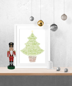 Bespoke Personalised Christmas Tree Word Art Print