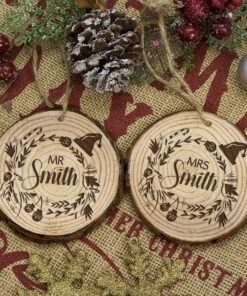 Personalised Engraved Set of Two Couple's Christmas Decoration