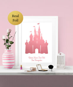 Personalised Disney Castle Real Foil Typography Print
