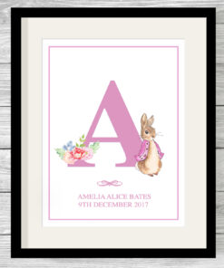 Personalised Girls Peter Rabbit Initial Print