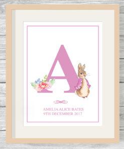 Personalised Girls Peter Rabbit Initial Print