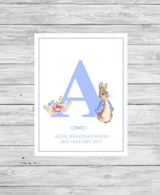 Personalised Peter Rabbit Initial Print