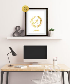 Personalised Monogram & Laurel Wreath Real Foil Typography Print