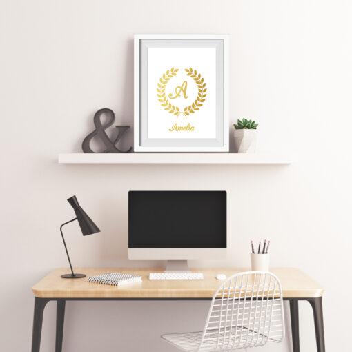 Personalised Monogram & Laurel Wreath Real Foil Typography Print