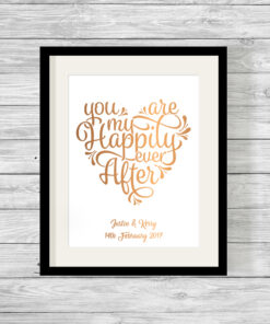 Personalised Happily Ever After Real Foil Typography Print